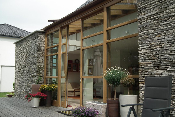 A modern wood lift slide door system by Veranda View