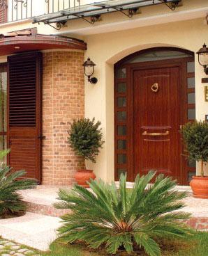 A custom wood-aluminum entry door by SPI Finestre