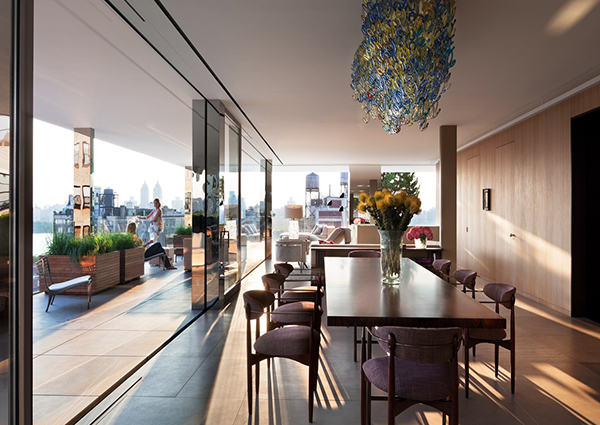 An upper east side penthouse in NY remodeled in glass walls