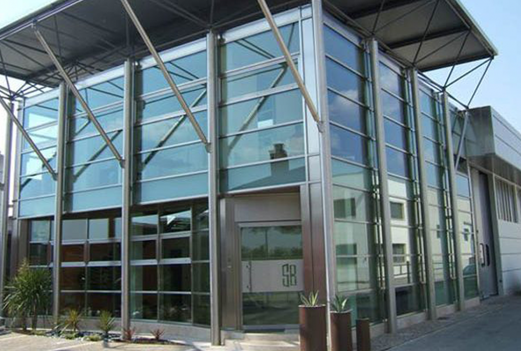 Brombal's main office features a stainless steel curtain wall