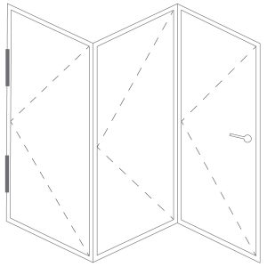 Representation of a folding door