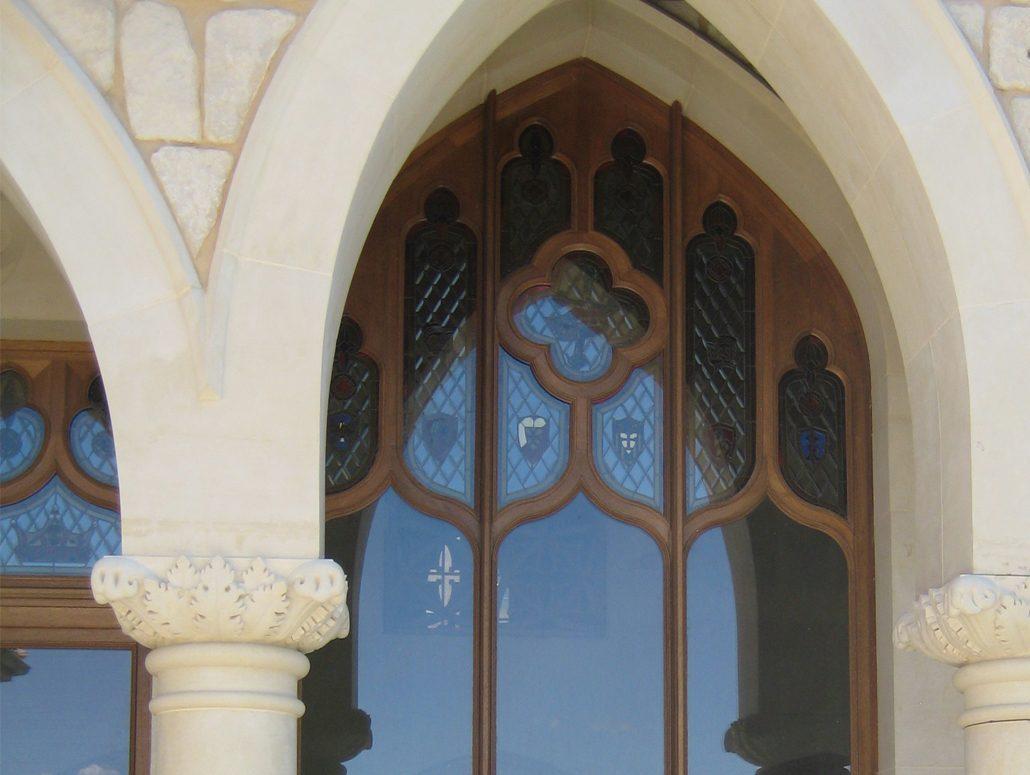 A gothic window was historically restored by the craftsmen at Veranda View