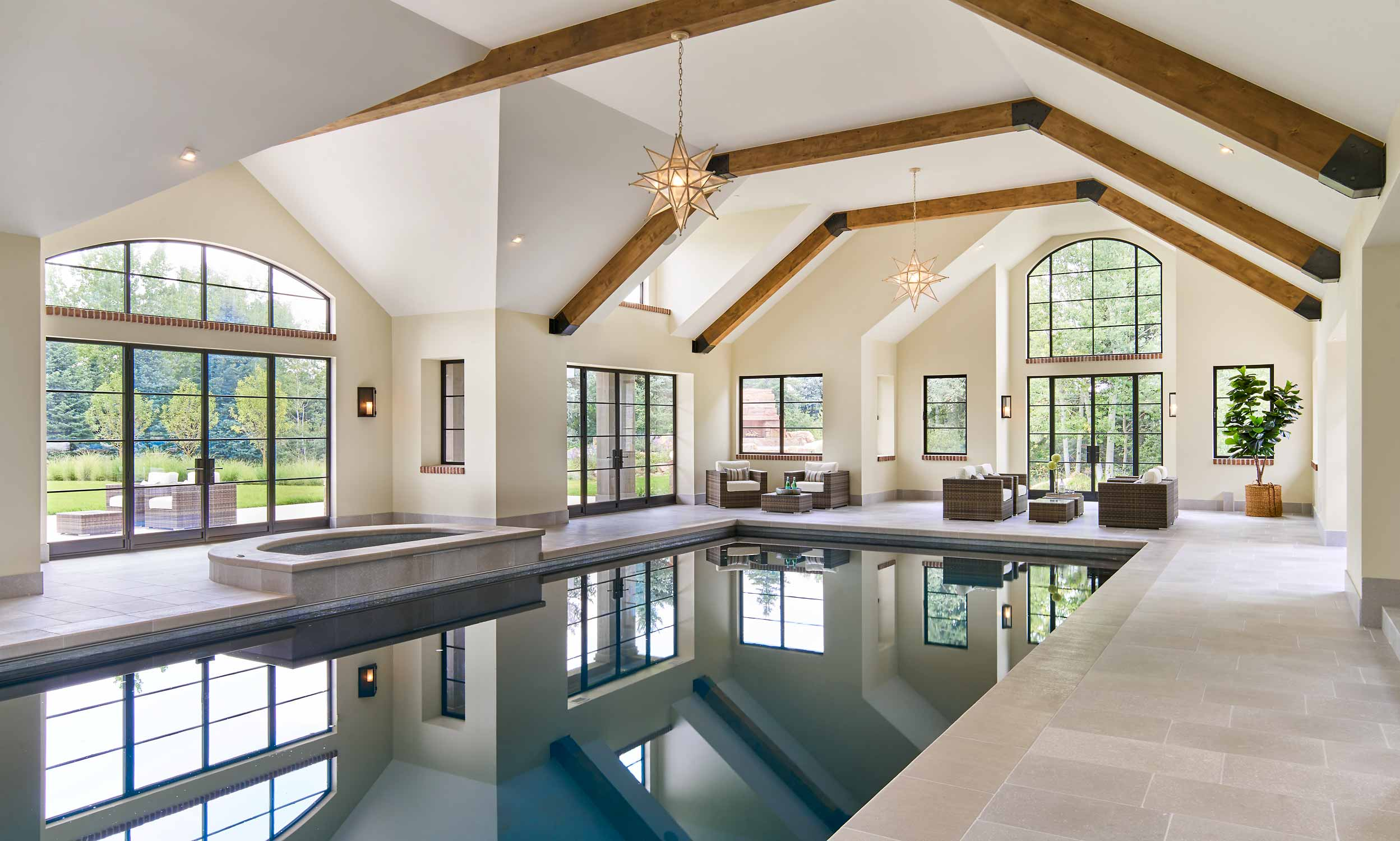 Brombal's Custom Steel Windows and Doors are used in this pool room