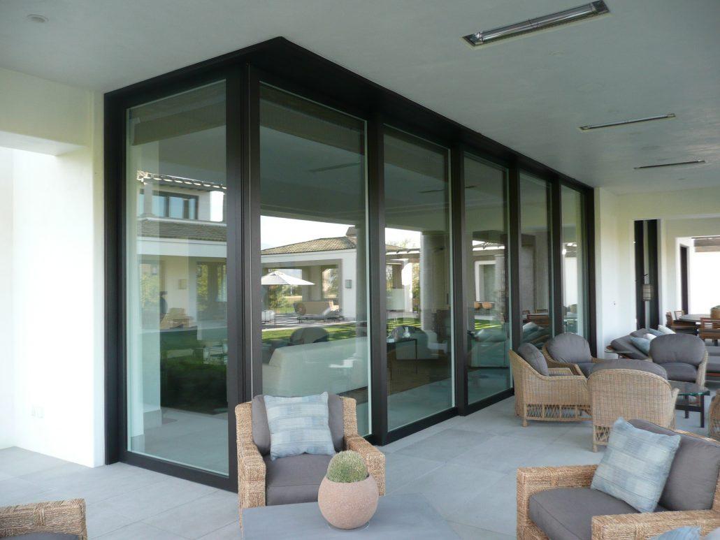 Five panel lift slide door system