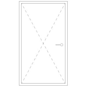 Representation of a minimal frame pivot door