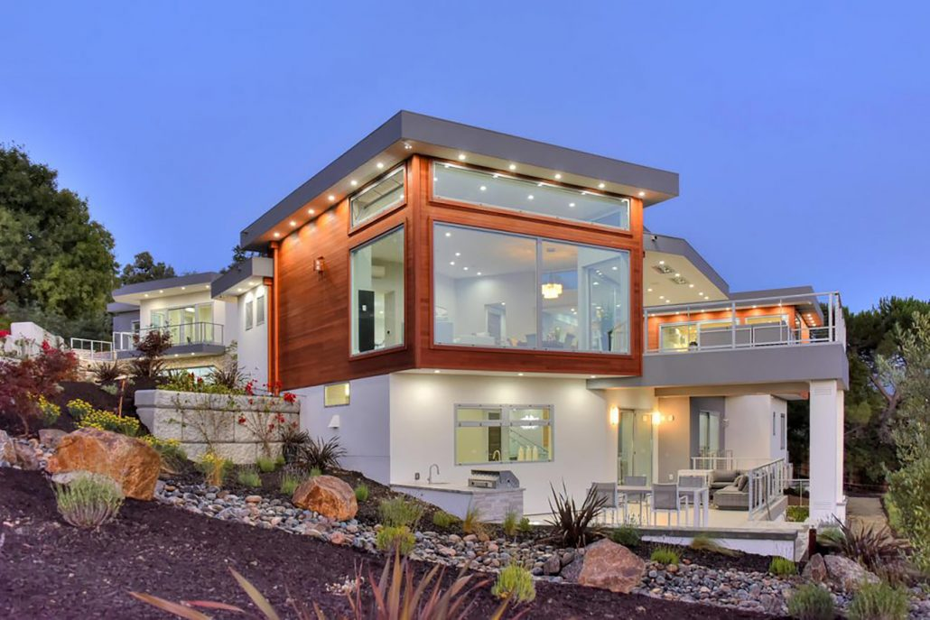 A contemporary house with oversized aluminum window and door systems give a stunning visual impact