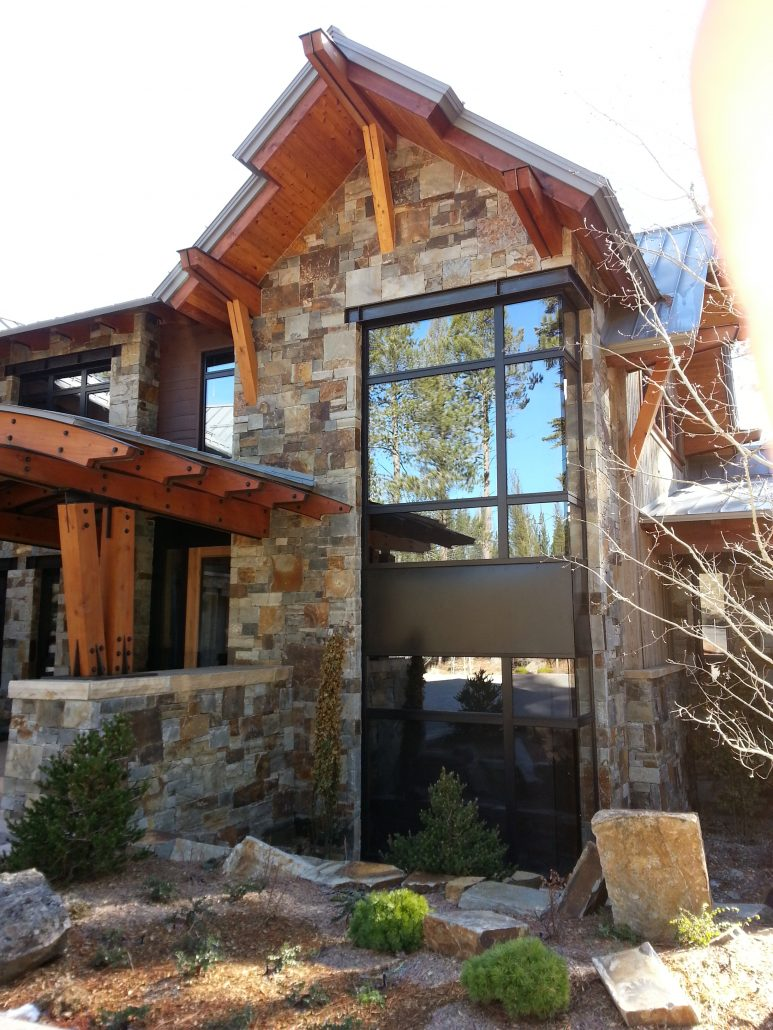 A Tahoe home is accentuated by steel windows and doors