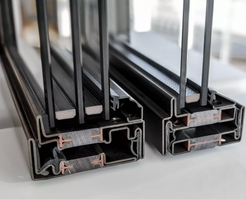 Cross Sections of Triple and Double Pane Thermally Broken Steel Windows