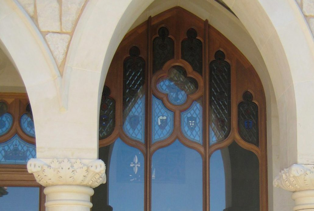 A wooden gothic style window was designed to match the architectural style of the building