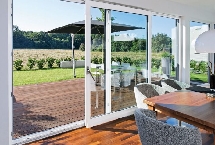 A minimal frame lift slide door system is made out of eco-friendly and energy efficient PVC