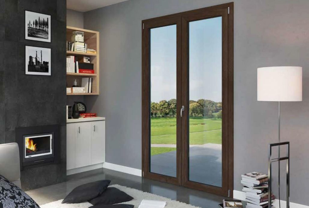 A double inswing door made of eco-friendly and energy efficient PVC opens up to a patio