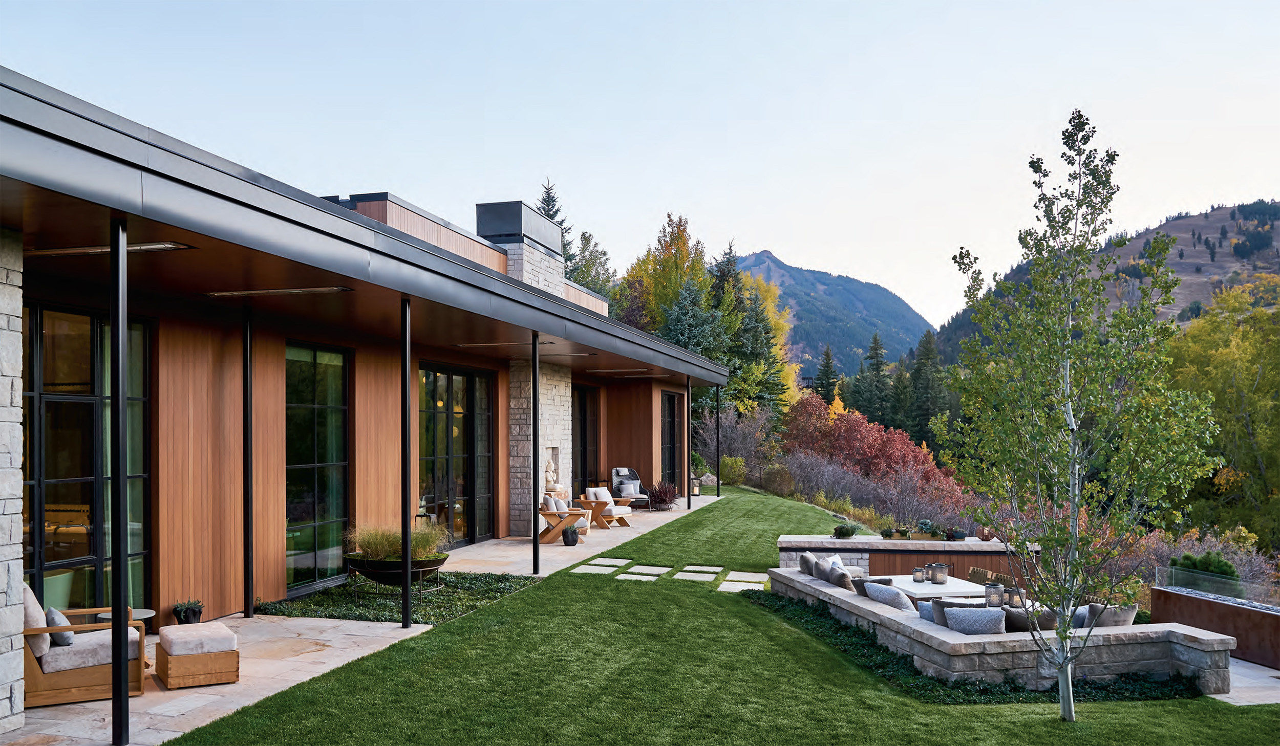 Custom steel windows by Brombal blend harmoniously with Aspen's landscape.