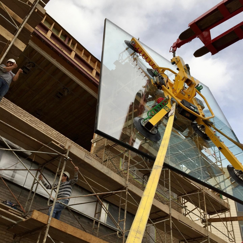 The use of a WPG vacuum lift helped our installation techs easily lift oversized glass to the third floor.