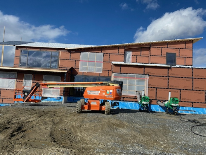 Triple pane steel window installation continues in the Berkshires.