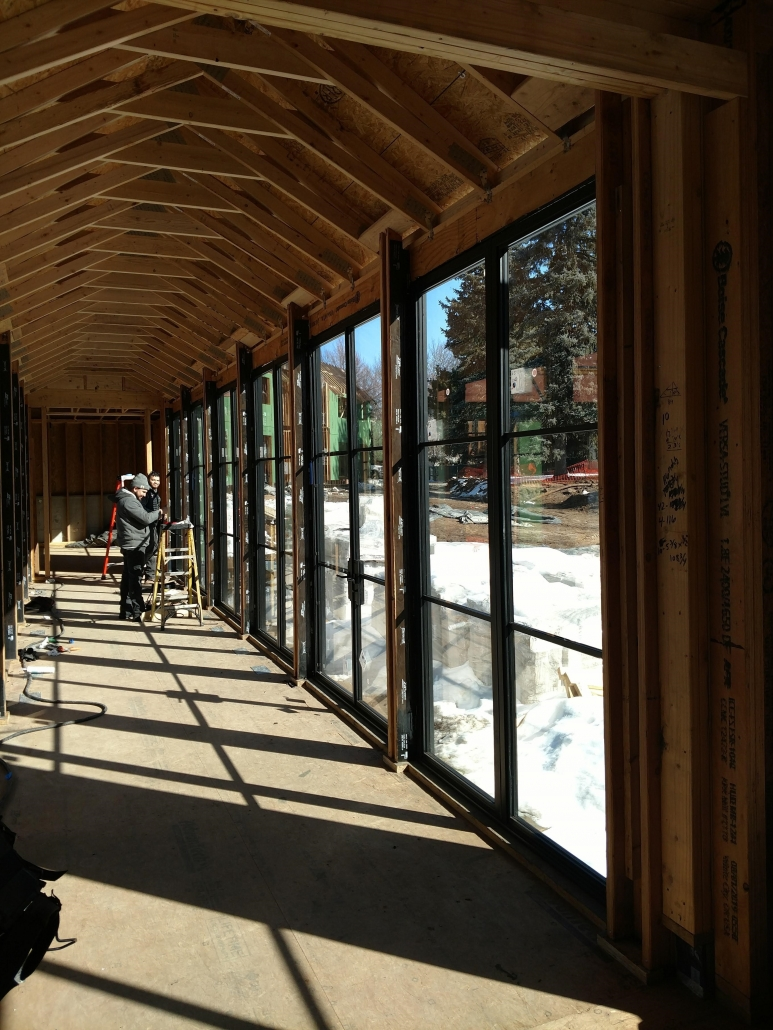 Our technicians completed the installation of the custom steel windows and doors.