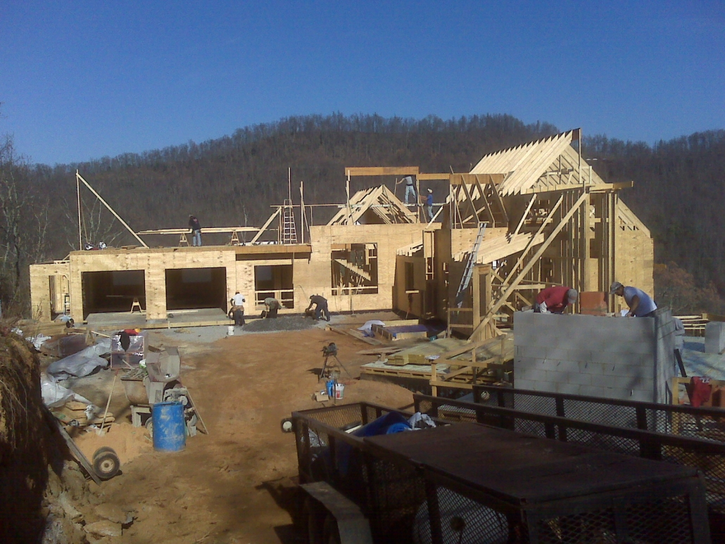 A progress shot of a new home build in Billings.