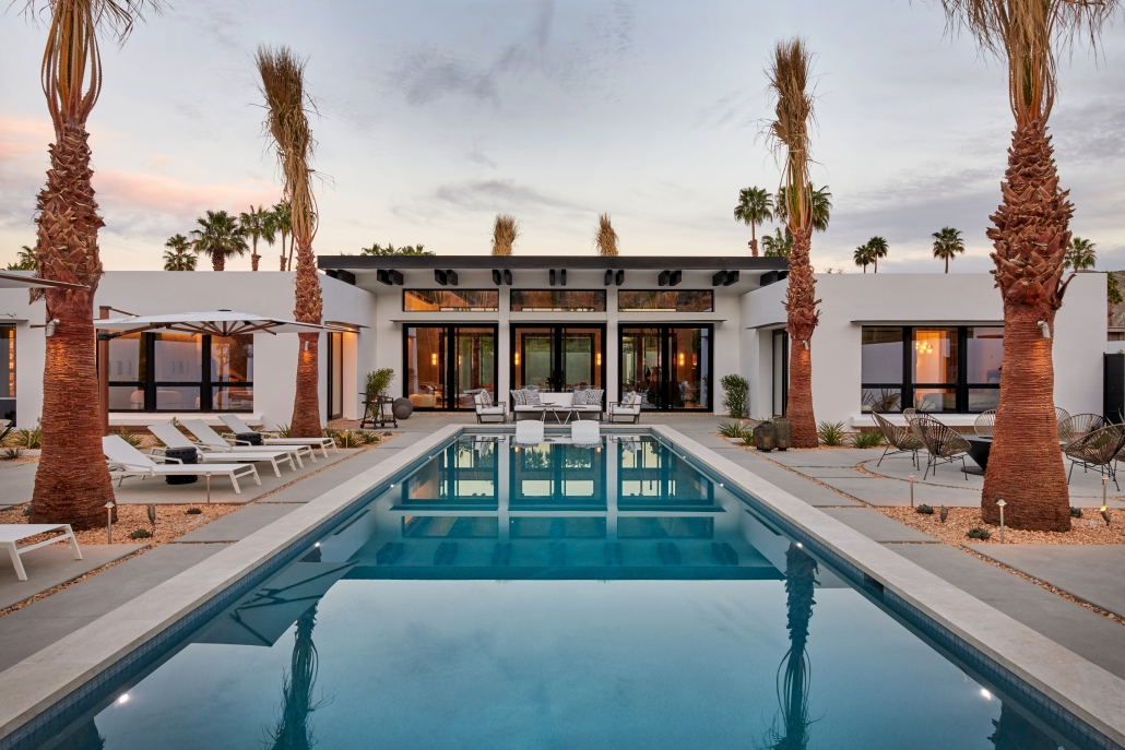 a palm springs house designed with minimal frame aluminum window and door systems from SPI Finestre from Veranda View