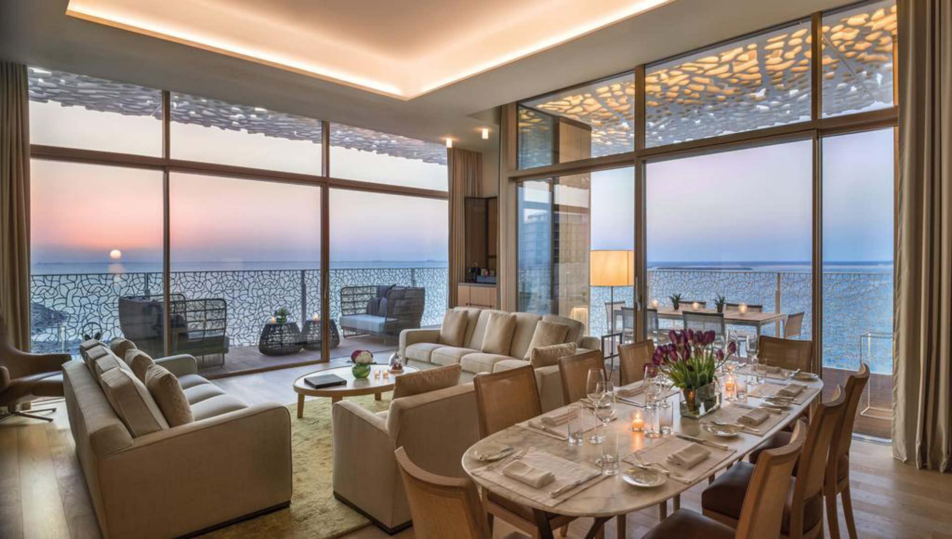 Carminati's oversized minimal frame windows and doors open up the Bvlgari Hotel dining room