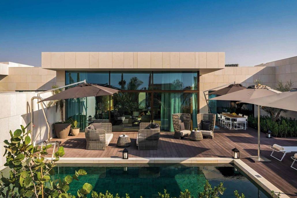 Carminati's expansive minimal frame windows and doors make a statement in the Bvlgari Hotel and Resort in Dubai