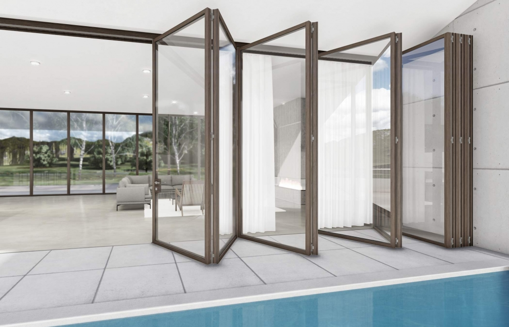 Minimal frame skyline bifold door system by carminati from veranda view