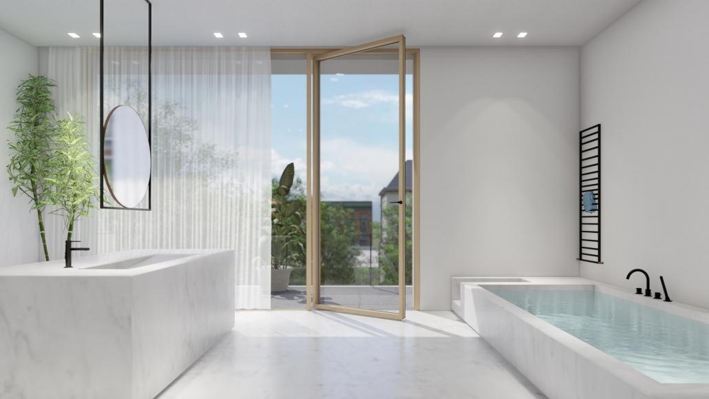 Carminati Skyline oversized minimal frame pivot door
