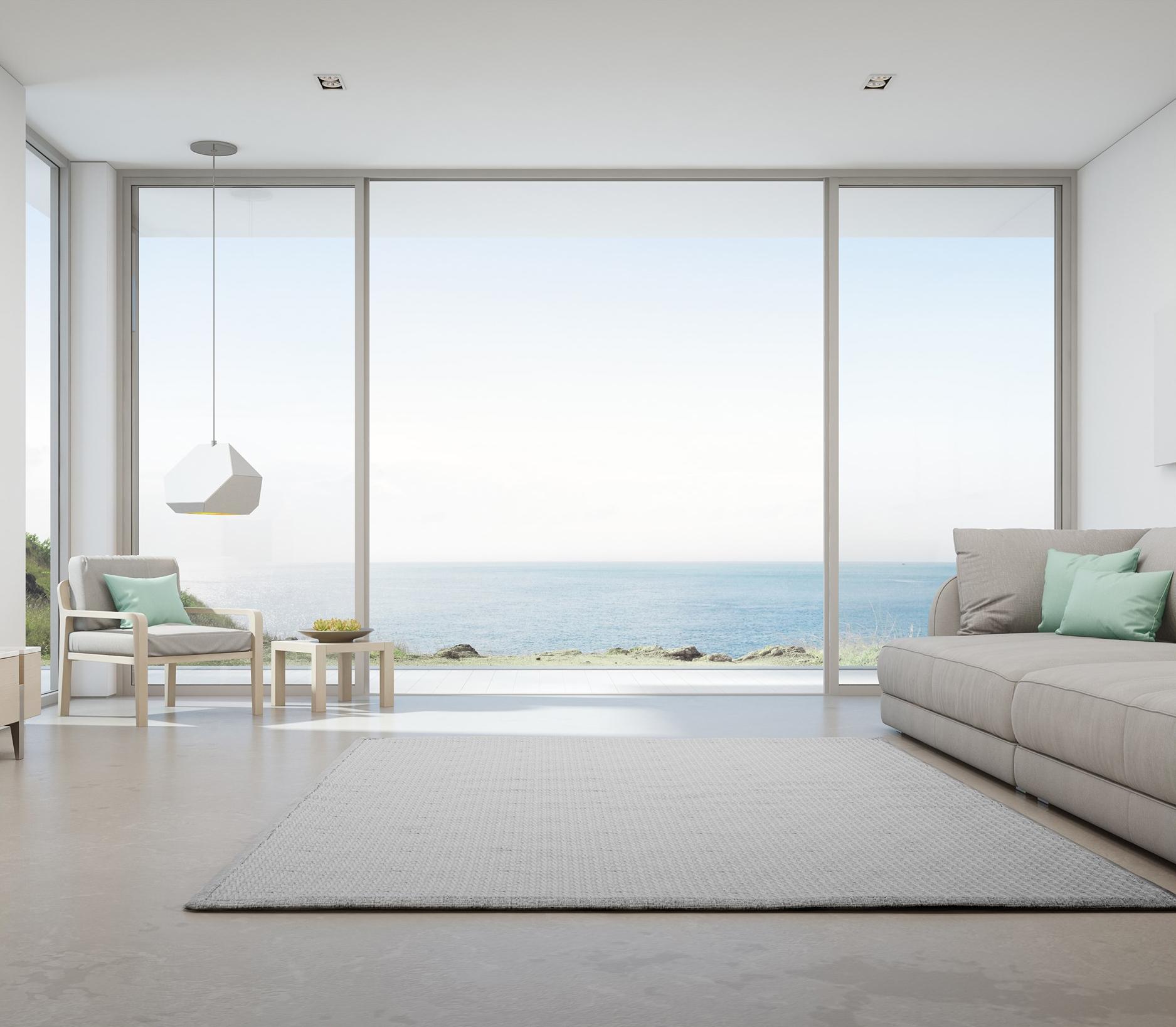 minimal frame expansive glass sliding door system
