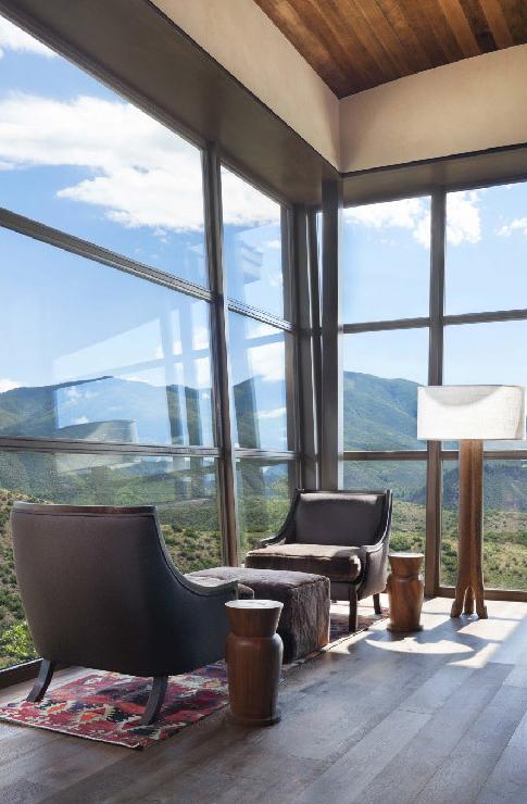 Expansive custom wood windows by Veranda View allow for breathtaking views of Aspen.
