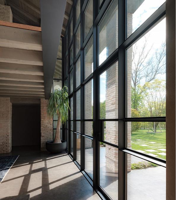 Minimal frame metal curtain wall entry door system