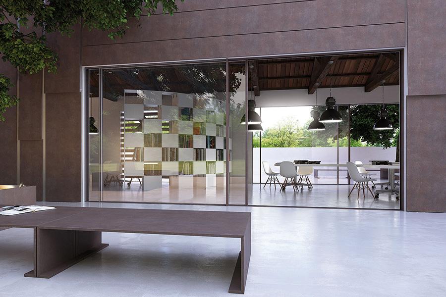 alluminio space oversized minimal frame door system