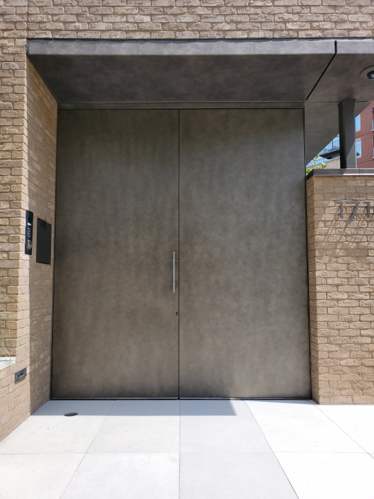 Brombal steel double doors in a distinctive finish supplied and installed by Veranda View